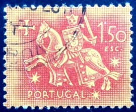 Selo postal de Portugal de 1953 Knight on horseback 1$50