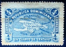 Selo postal da Rep. Dominicana de 1900 Map of Hispaniola Island