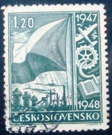 Selo postal da Tchecoslováquia de 1947 Symbolism of the national economy