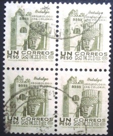 Quadra de selos postais definitivos do México de 1950  Convent head Hidalgo