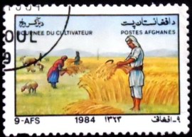 Selo postal do Afeganistão de 1984 Harvesting Wheat