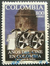 Selo Correio Aéreo Colombia 1997 100 Years Cinema