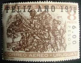 Selo postal aéreo Uruguai 1969 Don Quixote and Sancho Panza