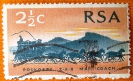 Selo postal comemoraivo Africa do sul 1969 Mail Coach from 1869