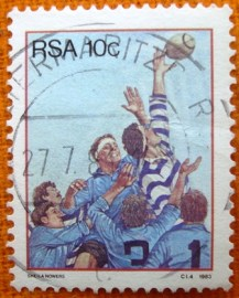 Selo postal comemoraivo Africa do sul 1983 - Rugby