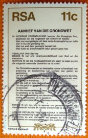 Selo postal comemoraivo Africa do sul 1984 - Preamble in Afrikaans