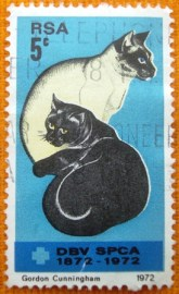 Selo postal comemorativo África do Sul 1972 - Domestic Cats
