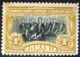 Selo postal da Romênia de 1906 Karl I declaring the constitution