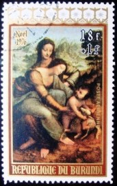 Selo postal comemoratico do Burundi de 1976 - Virgin & Child with St. Anne