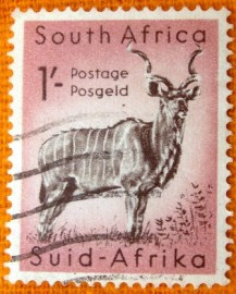 Selo postal definitivo África do Sul 1960 Greater Kudu