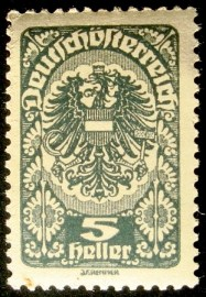 Selo postal definitivo Áustria Coat of Arms 1920 3