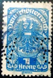Selo postal da Áustria de 1920 Coat of Arms and Allegory 1kr