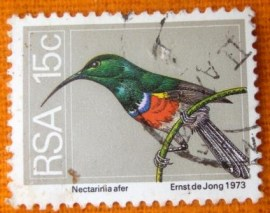 Selo postal efinitivo Africa do sul 1974 Greater Double-collared Sunbird