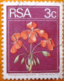 selo postal regular Africa do Siul 1974 Geranium