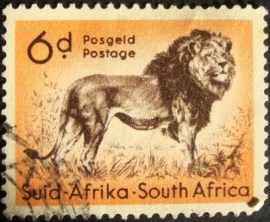 Selo postal regular África do Sul  1960 Lion (Panthera leo)