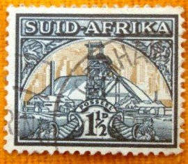 Selo postal regular Africa do sul 1941 gold mine