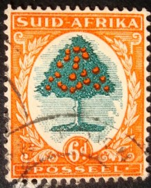 Selo postal regular África do Sul 1950 Orange tree