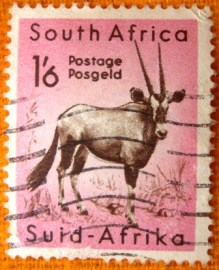 selo postal regular Africa do Sul 1954 Gemsbock