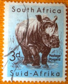 Selo postal regular Africa do Sul 1959 White Rhinoceros