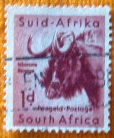 Selo postal regular África do Sul 1960 Black Wildebeest