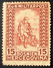 Selo postal da Áustria de 1918 An invalid of war