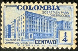 Selo Taxa Postal Colombia Palace of Communications 1940